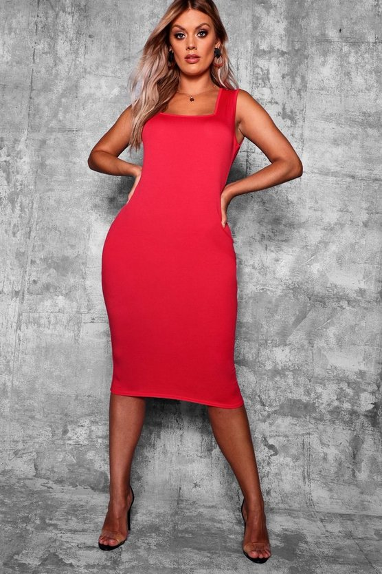 Womens Red Plus Longline Square Neck Midi Dress