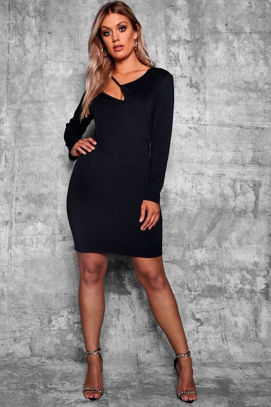 Womens Black Plus Cut Out Long Sleeve Bodycon Dress
