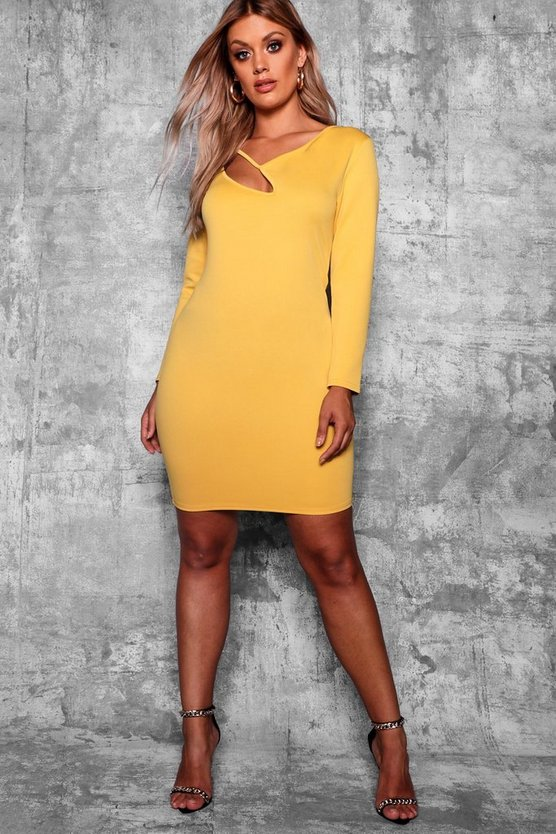 Plus Cut Out Long Sleeve Bodycon Dress