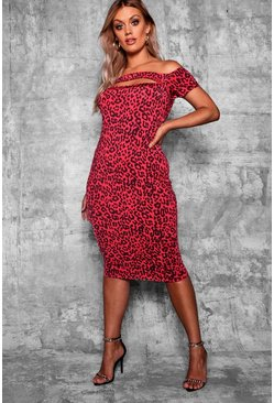 Womens Red Plus Off Shoulder Leopard Printl Midi Dress