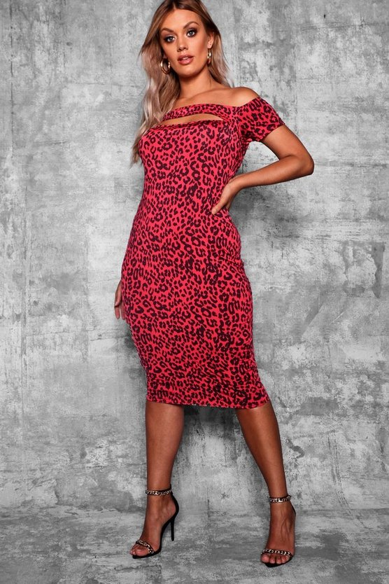 Plus Off Shoulder Leopard Printl Midi Dress