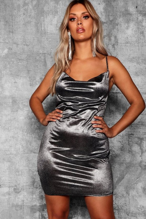 Plus Metallic Cowl Neck Dress