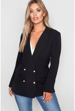 Plus Double Breasted Military Blazer, Black, Donna