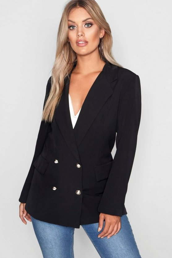 Plus Double Breasted Military Blazer