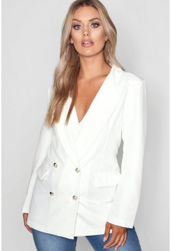 Plus Double Breasted Military Blazer, White, Donna