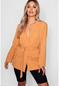 Womens Mustard Plus D Ring Belted Blazer