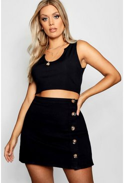 Womens Black Plus Horn Button Denim Skirt