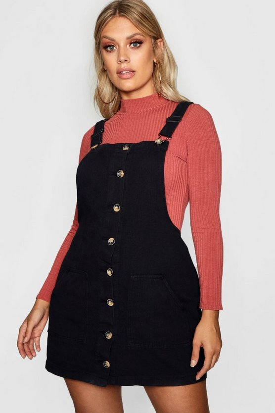 Womens Black Plus Horn Button Denim Pinafore Dress