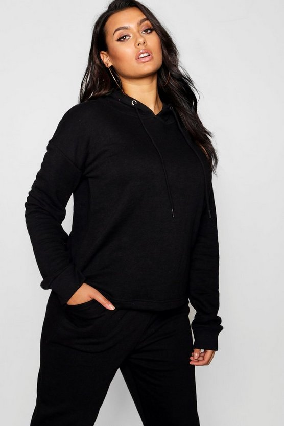 Womens Black Plus Basic Oversized Hooded Sweat