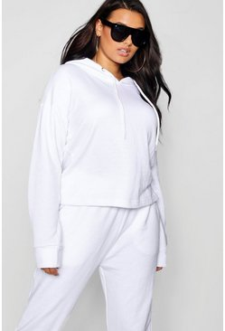Womens White Plus Basic Oversized Hooded Sweat