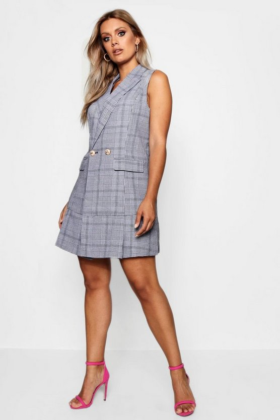 Plus Check Pleated Sleeveless Blazer Dress