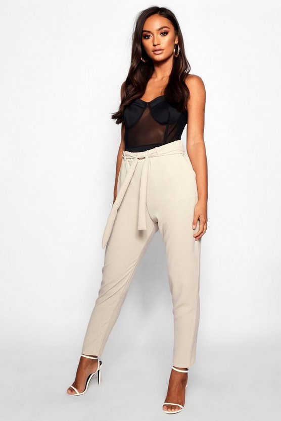 Petite Tie Waist Tapered Pants