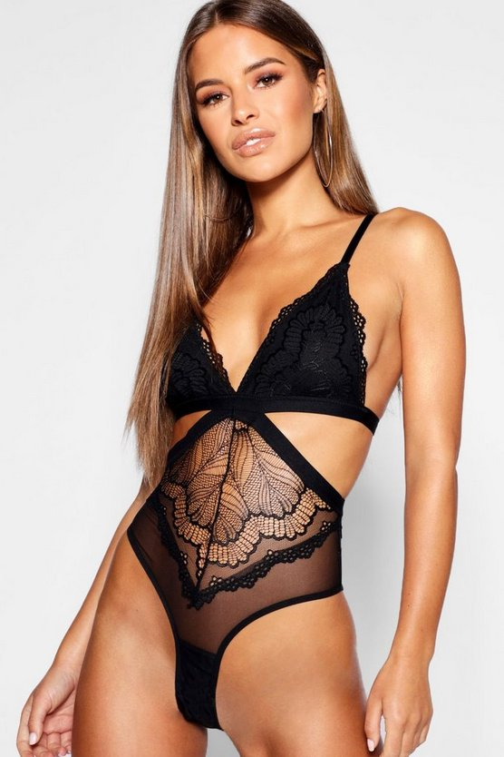 Petite Cut Out Lace And Mesh Bodysuit