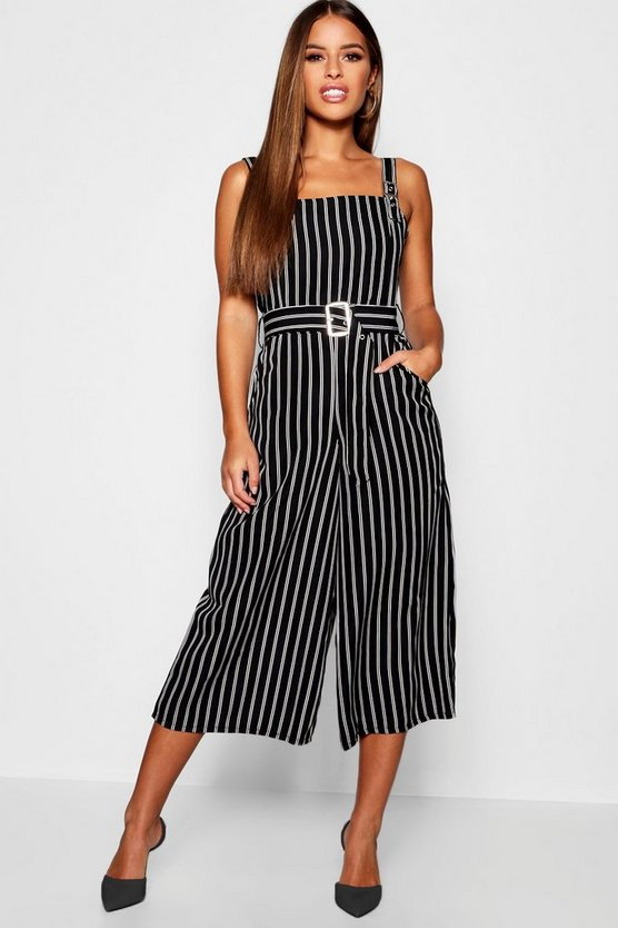 Petite Stripe Belted Square Neck Woven Jumpsuit