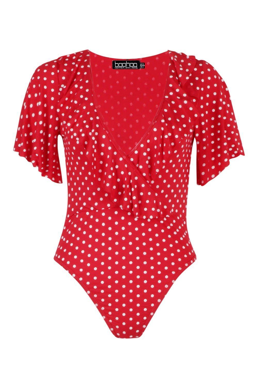 Polka red Ruffle Dot Petite Bodysuit Wrap dxnqSd70W