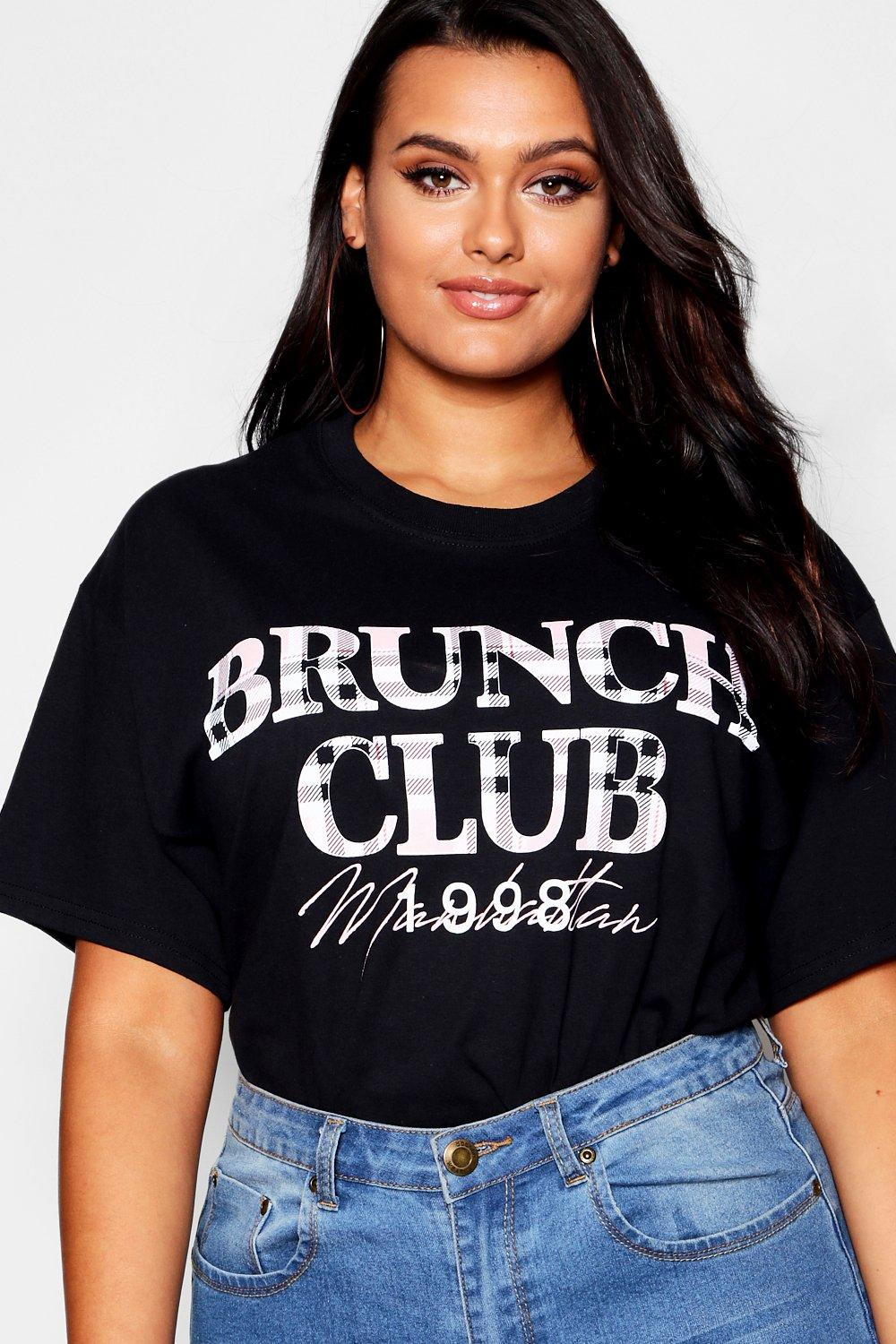 Plus T white Club Brunch Shirt Check rHwztXr