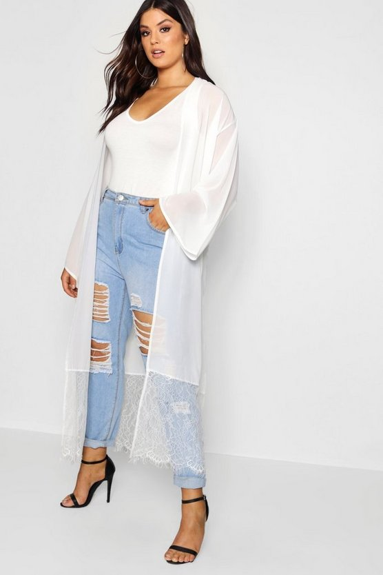 Plus Lace Trim Duster