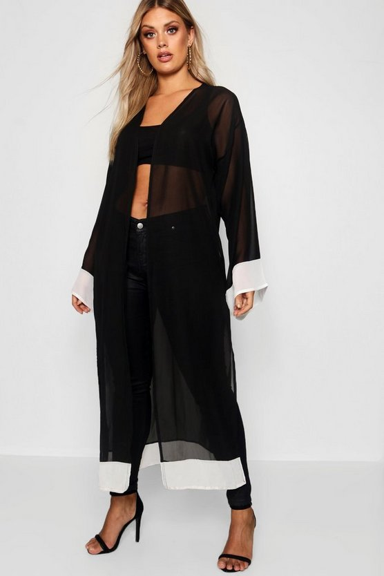 Plus Contrast Trim Chiffon Duster