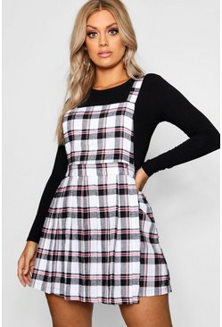 Plus Checked Pinafore Dress, Ivory, Donna