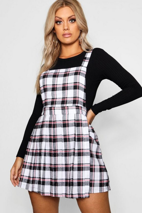 Womens Ivory Plus Checked Pinafore Dress