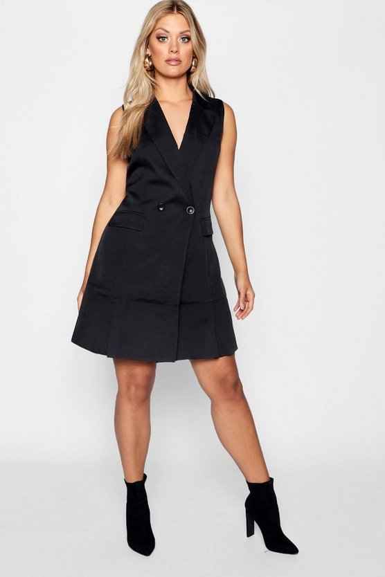 Womens Black Plus Double Breasted Sleeveless Blazer Dress