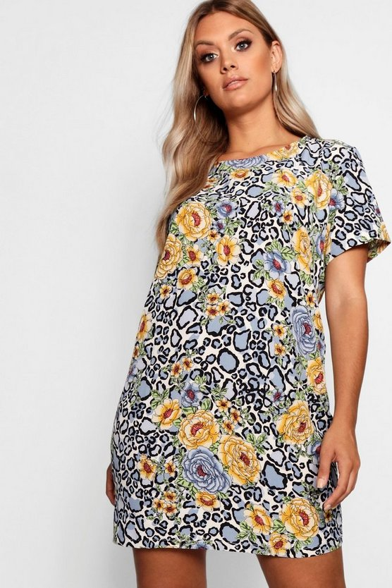 Plus Animal Floral Shift Dress