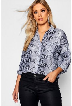 Womens Grey Plus Snakeskin Oversized Shirt