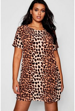 Womens Brown Plus Leopard Printed Shift Dress
