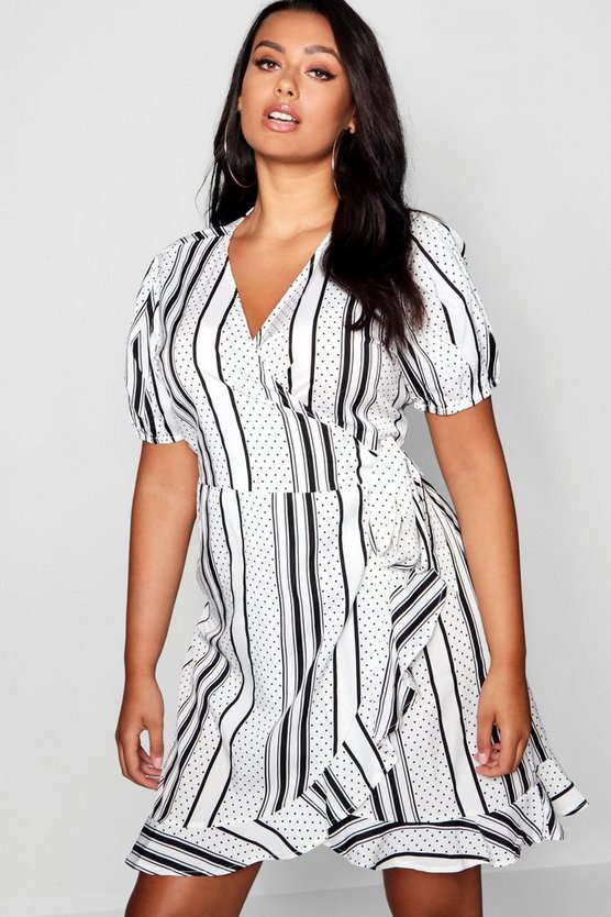 Plus Stripe & Polka Dot Ruffle Wrap Dress