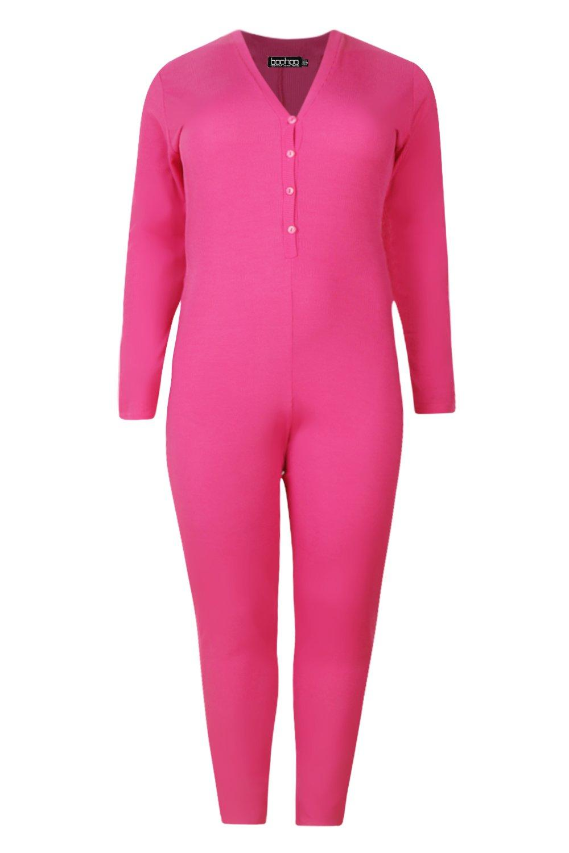 Ribbed Detail Plus Onesie hot Button pink q7ffxHWn