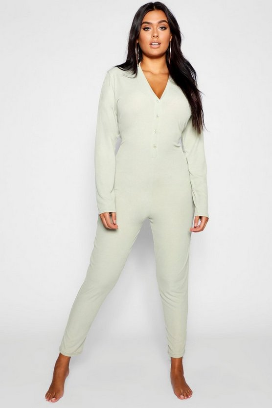 Plus Ribbed Button Detail Onesie