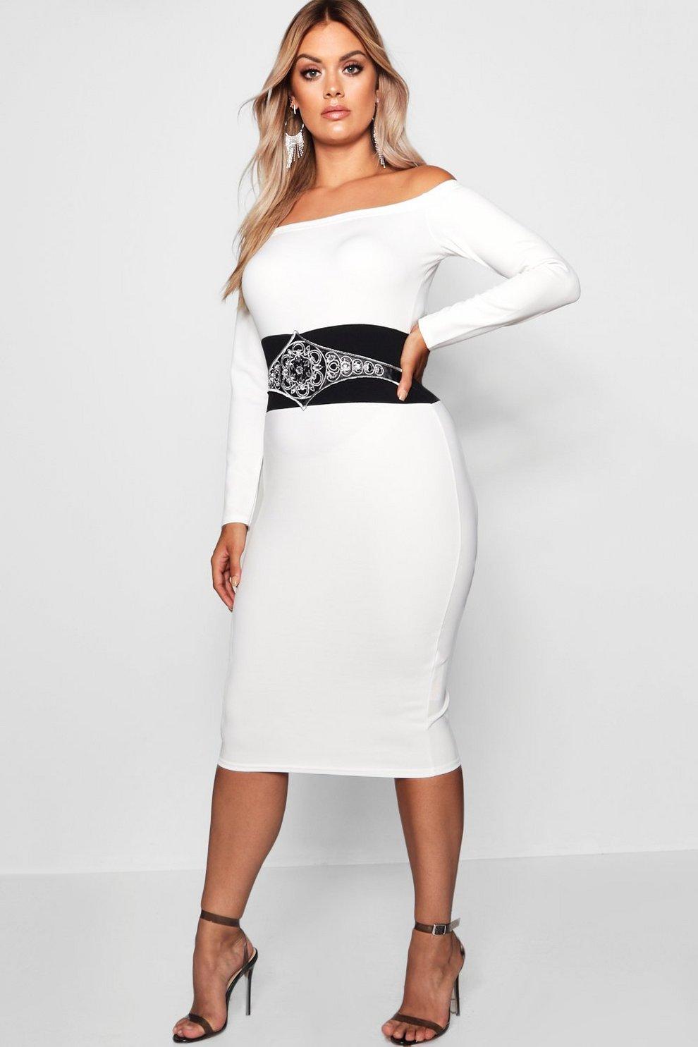 809e98420716 Plus Embellished Waist Bardot Dress