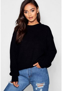 Black Petite Ivy Oversized Sweater