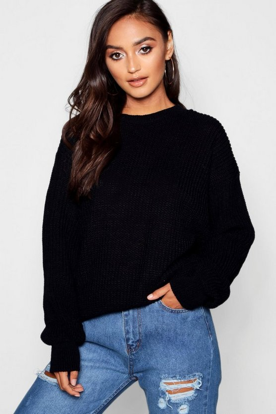 Womens Black Petite Ivy Oversized Jumper