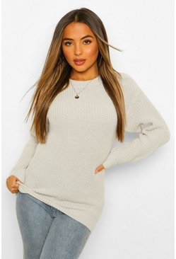 Womens Grey marl Petite Ivy Oversized Sweater