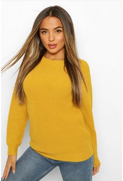 Womens Mustard Petite Ivy Oversized Sweater