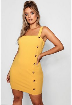 Womens Mustard Plus Side Horn Button Detail Square Neck Shift Dress