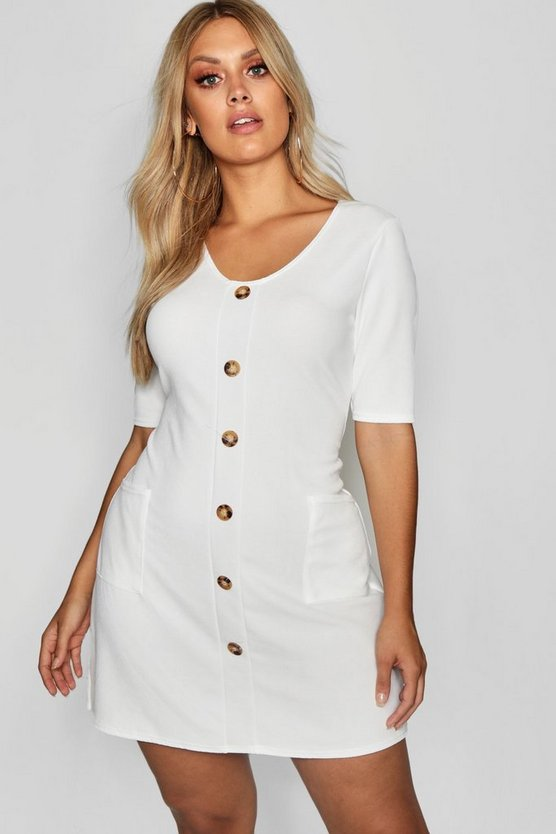 Plus Horn Button Detail Pocket Front Shift Dress