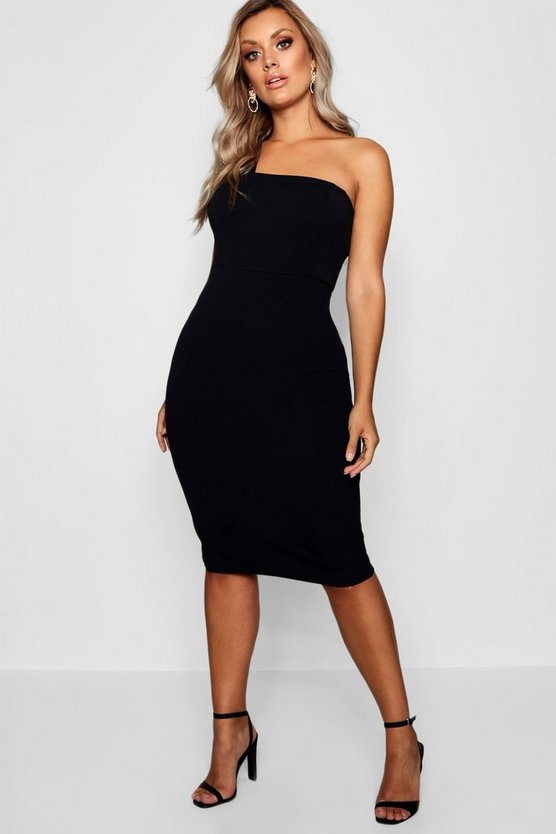 Plus One Shoulder Midi Dress