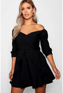Black Plus Bardot Ruffle Skater Dress