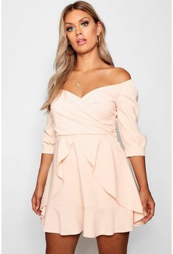 Womens Blush Plus Bardot Ruffle Skater Dress