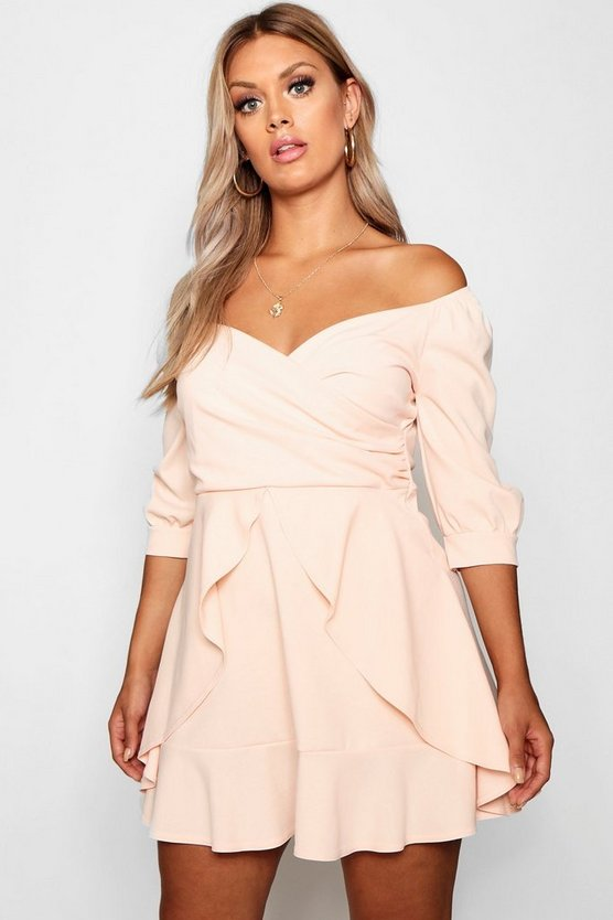 Plus Bardot Ruffle Skater Dress