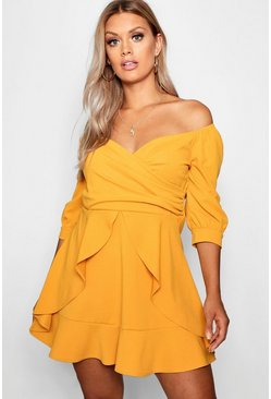 Plus Bardot Ruffle Skater Dress, Mustard