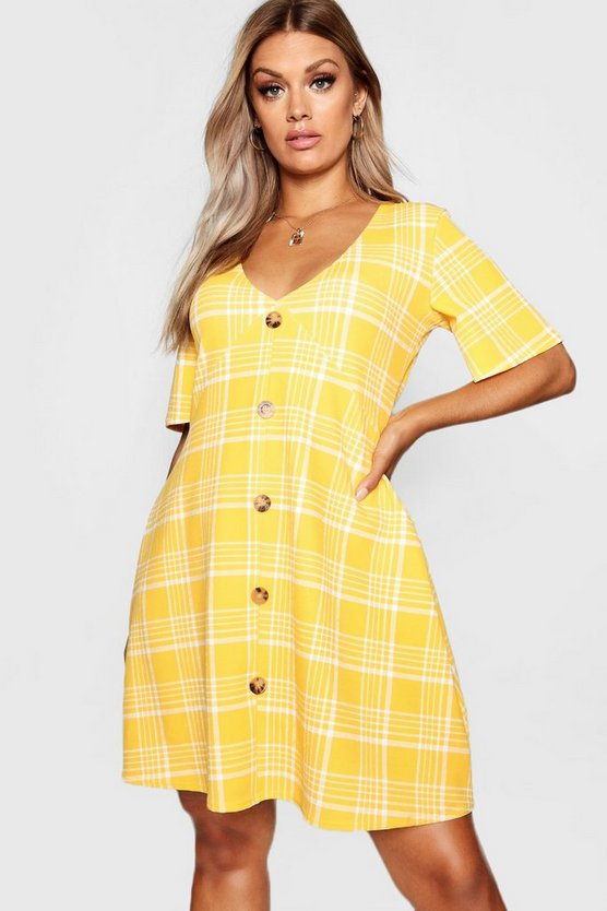 Mustard Plus Check Horn Button Detail Shift Dress
