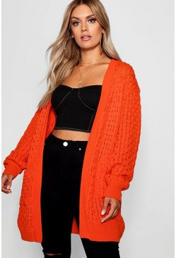 Womens Orange Plus Crochet Knitted Oversized Cardigan