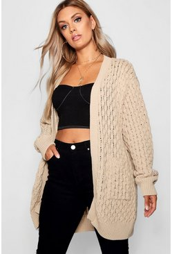 Womens Stone Plus Crochet Knitted Oversized Cardigan
