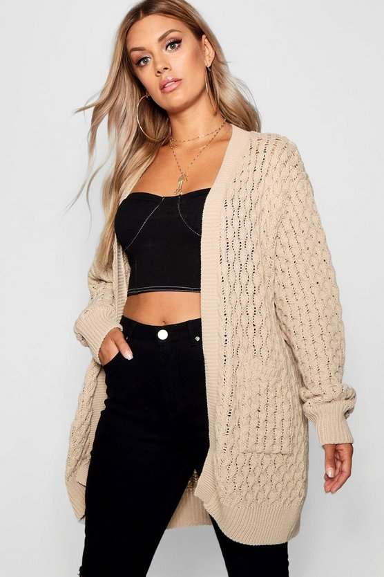 Plus Crochet Knitted Oversized Cardigan