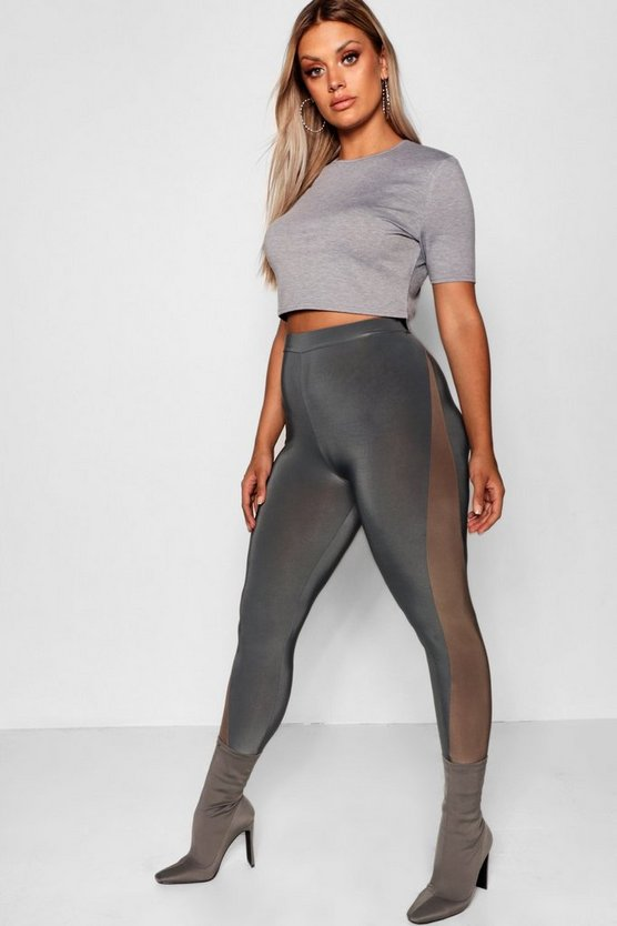 Plus Contrast Panel High Waisted Legging