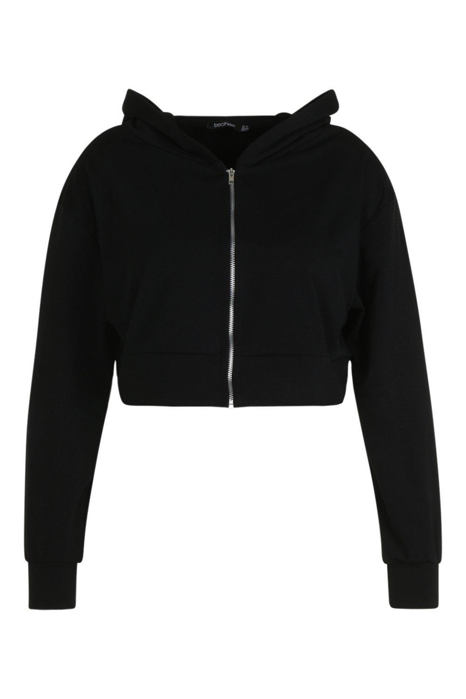 Oversized Up black Hoody Zip Plus 4AafqgPf