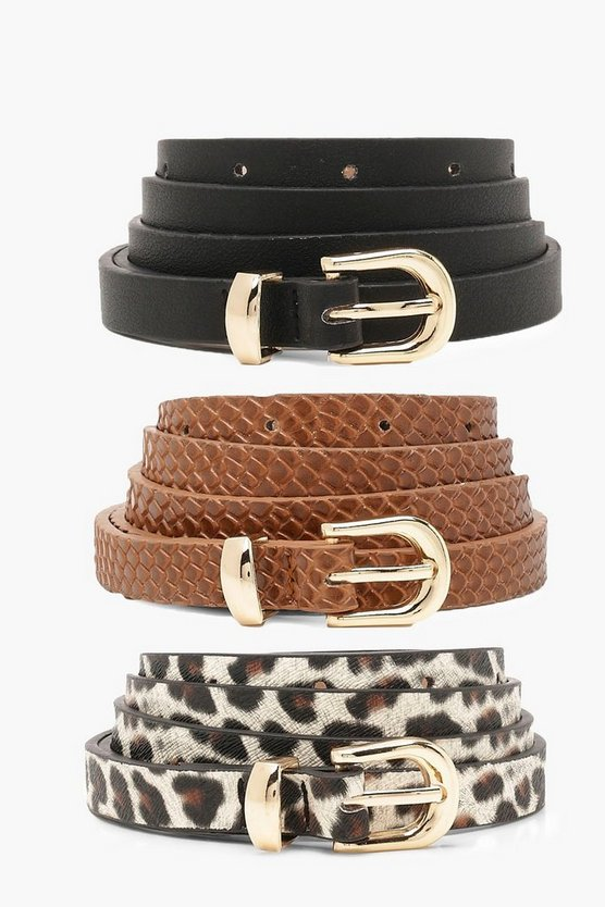 Plus 3 Pack Hip Belts Snake & Leopard